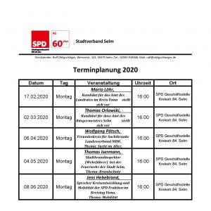 Terminplaner 1 HJ 2020
